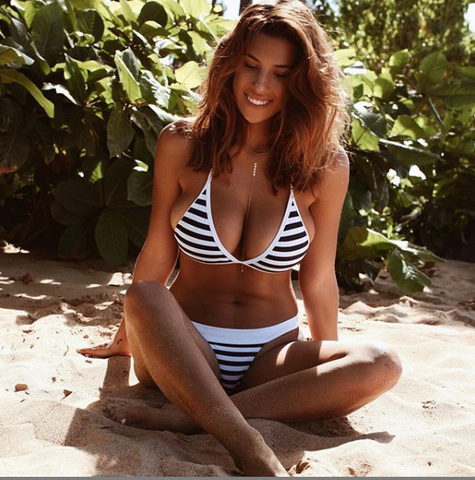 Devin Brugman striped bikini nautical