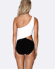 Cold Shoulder Asymmetrical One Piece Swimsuit - Mono