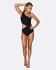 Cold Shoulder Asymmetrical One Piece Swimsuit - Black