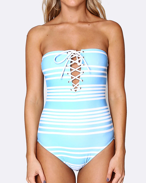 Lace up Deep Plunge One Piece - Tropical Punch
