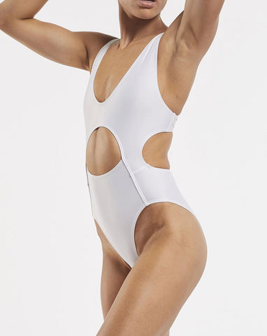 Allerton eco friendly cut out white one piece swimsuit