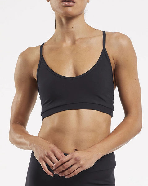 Yoga Crop Bra Top Reclaimed Black Lycra