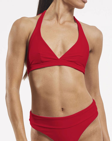 Ashleigh Wrap Halter Bra in Riot-Red