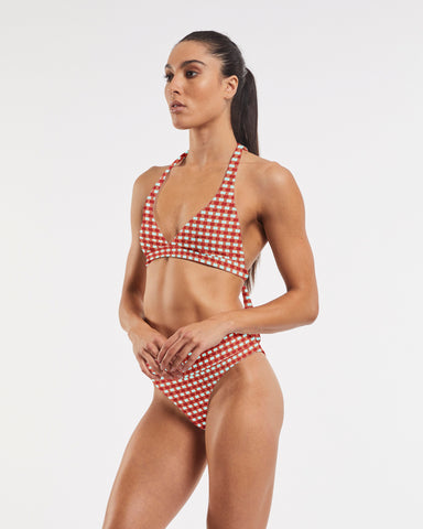 Ashleigh Wrap Halter Bra in CheckMate