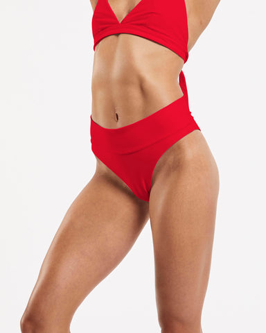 80s Banded Brazilian Brief in Riot-Red