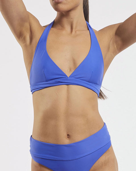 Ashleigh Wrap Halter Bra in  Blue-Crush