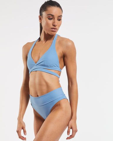 Ashleigh Wrap Halter Bra in  Glacier-Blue