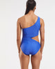 Cold Shoulder Asymmetrical One Piece Swimsuit - Blue Crush