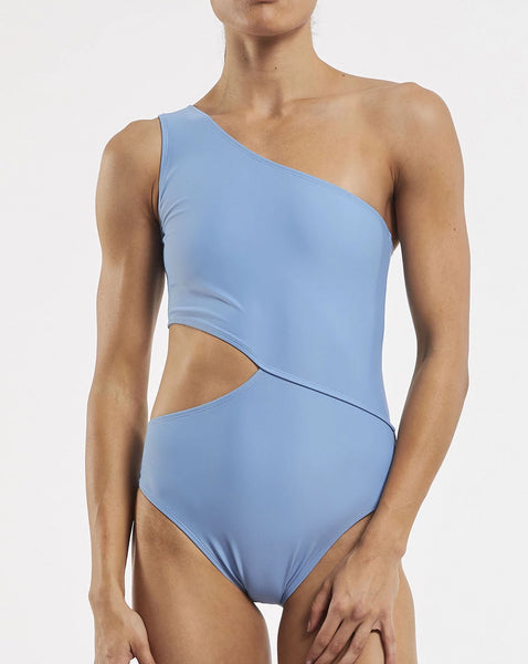 Cold Shoulder Asymmetrical One Piece Swimsuit - Glacier Blue