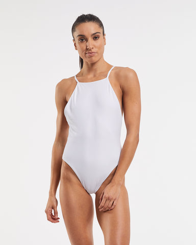 90's High Neck One Piece White