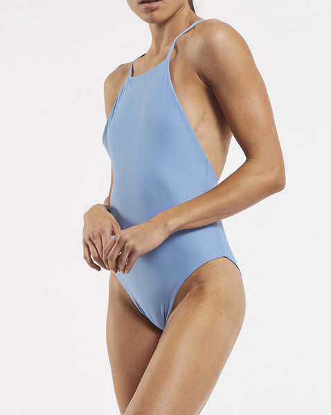 90's High Neck One Piece Glacier Blue