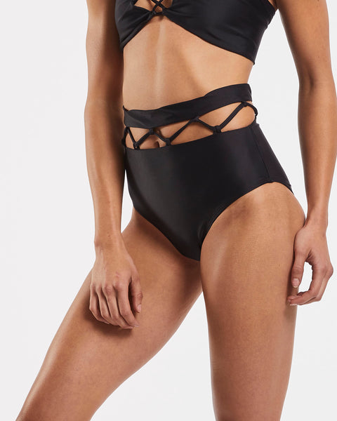 Lattice High Waisted Brief in  Black