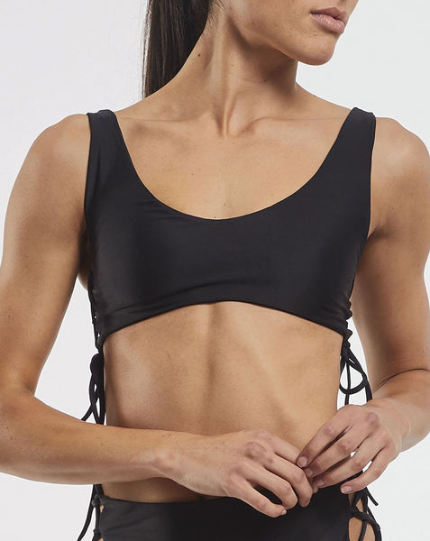 Side Tie Crop in Black