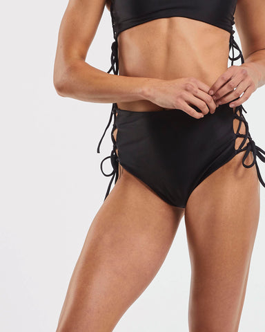 Side Tie High Waisted Brief in  Black