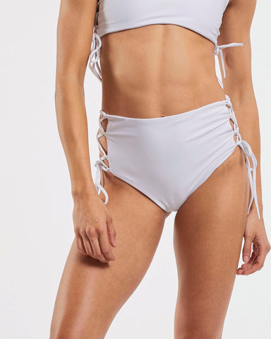 Side Tie High Waisted Brief in  White