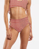 Side Tie High Waisted Brief in CheckMate