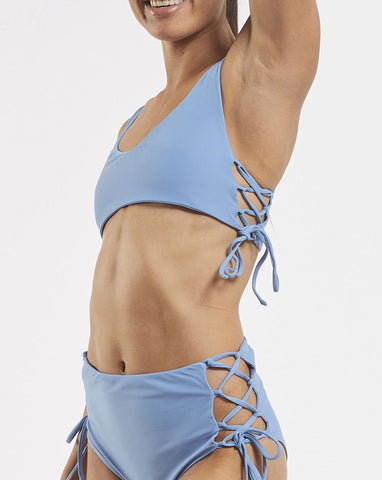 Side Tie Crop in  Glacier-Blue