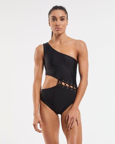 Tie Cold Shoulder Asymmetrical One Piece Swimsuit - Black