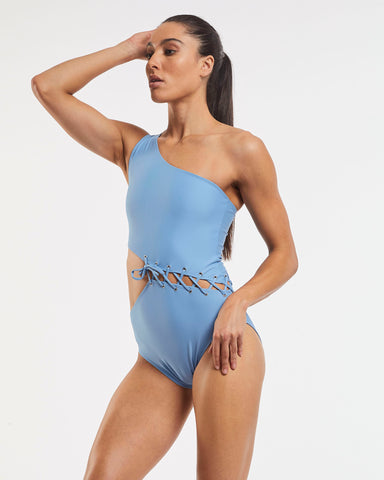 Tie Cold Shoulder Asymmetrical One Piece Swimsuit - Glacier Blue