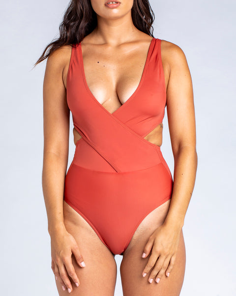 Cross Over Tank One Piece Swimsuit in Rust