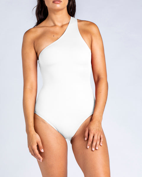 Sporty One Shoulder One Piece - White