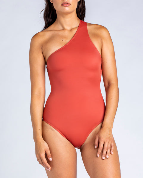 Sporty One Shoulder One Piece - Rust