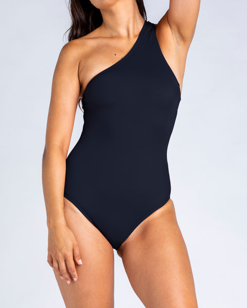 Sporty One Shoulder One Piece - Black