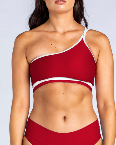 Sporty One Shoulder Crop in Red