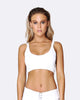 Lace Up Crop Bra - White