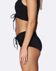 Lace Up Mid Brief Bikini Bottom - Black
