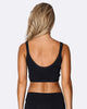 Lace Up Crop Bra - Black