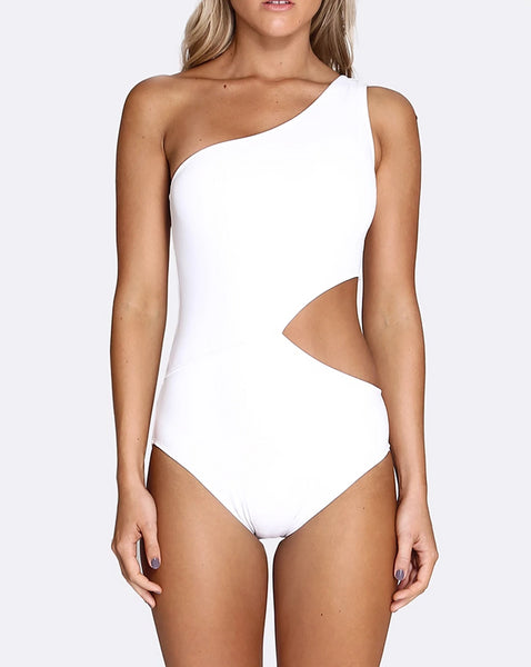 Cold Shoulder Asymmetrical One Piece Swimsuit - White