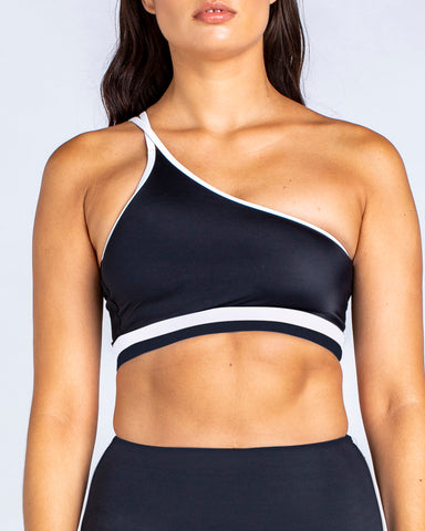 Sporty One Shoulder Crop in Black