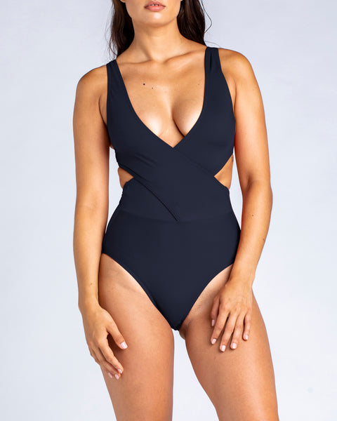 Cross Over Tank One Piece Swimsuit in Black