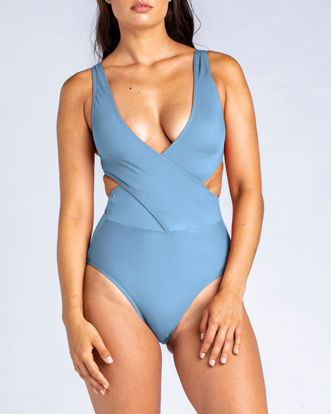 Cross Over Tank One Piece Swimsuit in Glacier Blue