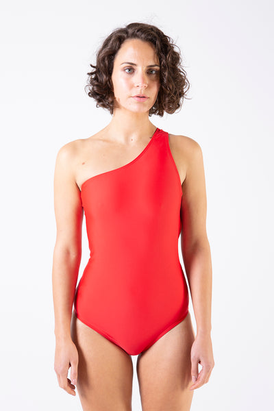 Sporty One Shoulder One Piece - Red