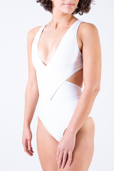 Cross Over Tank One Piece Swimsuit in White