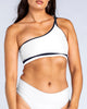 Sporty One Shoulder Crop in White