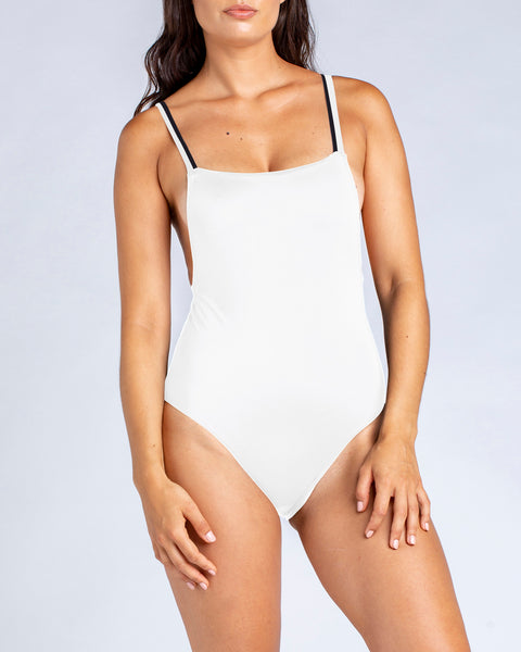 Minimal Bandeau One Piece Swimsuit with sporty straps in White