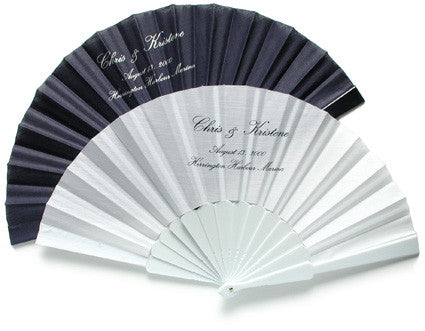 Custom Printed Fans with Your Names and Wedding Date