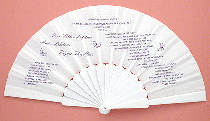 Custom Printed Fans with Your Exclusive Wedding Program or Invitation