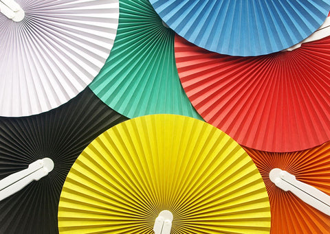 100 Pieces Paper Folding Fans Colorful