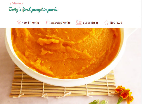 Recipe, Baby food : Pumpkin puree 4-6 months