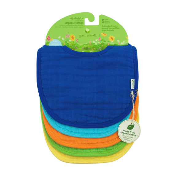 Green Sprouts Muslin Bibs Made From Organic Cotton (5 Pack)  ผ้ากันเปื้อน