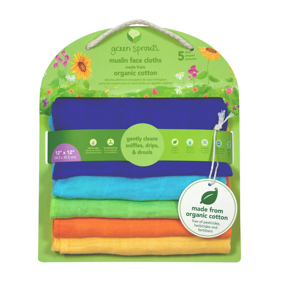 Green Sprouts Muslin Face Cloths Made From Organic Cotton (5 Pack) ผ้าซับมัสลินออร์เเกนิคค้อตต้อน
