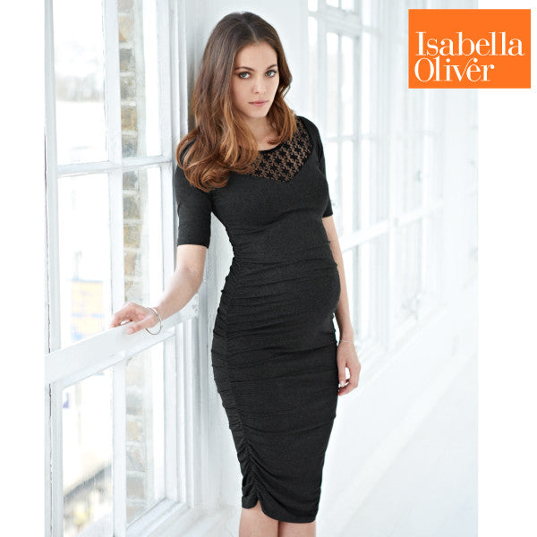 Isabella Oliver Ellington Lace Dress-Dark Grey Melange