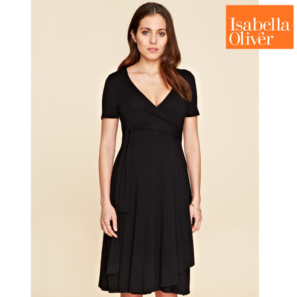 Isabella Oliver Judy Wrap Dress-Caviar Black