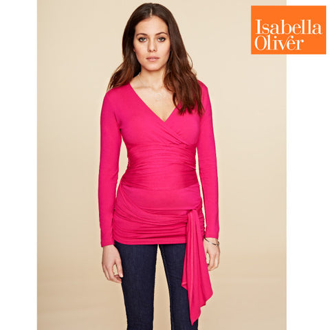 Isabella Oliver The Ruched Wrap Top-Lipstick Pink