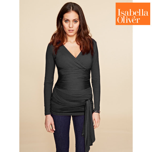Isabella Oliver The Ruched Wrap Top-Caviar Black