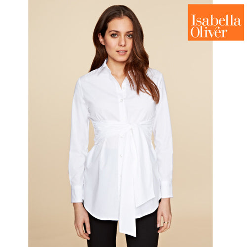 4ad3d6db90b2b Isabella Oliver Tie Front Shirt-Pure White